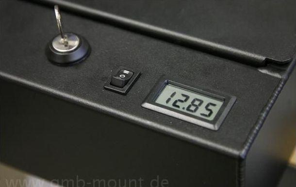 Elektrosatz LCD-Anzeige inkl. Umschalter für 2 Spannungsquellen und Montageblech schwarz